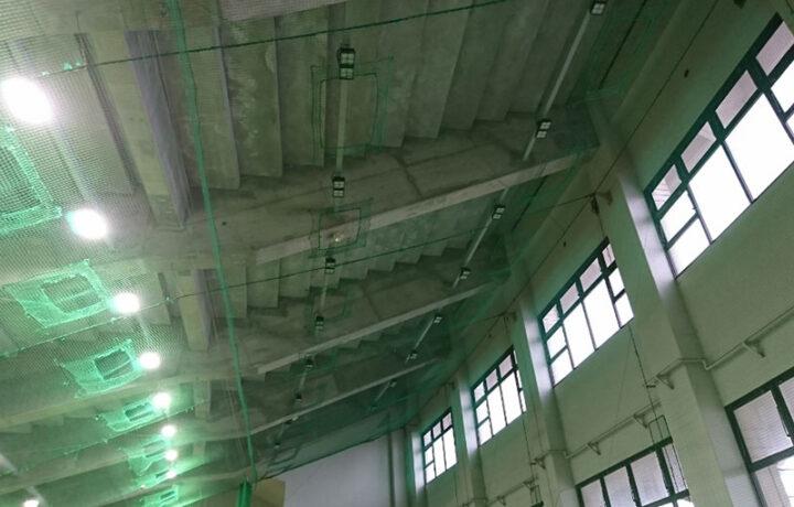 富山市 富山市民球場(レジャー施設)屋内練習場照明器具LED化工事